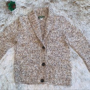 Eddie Bauer Tan Marled Cardigan Sweater